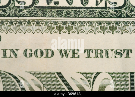 in god we trust written on one dollar bill - Stock Photo
