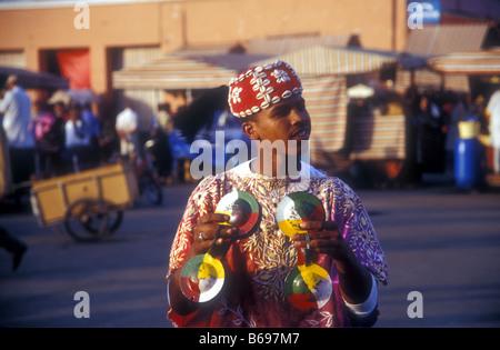 Performer at Djemaa el Fna in Marrakesh - Stock Photo