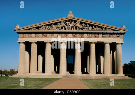 A replica of the famous Greek Parthenon is located in Centennial Park in Nashville Tennessee and serves as an art museum. Stock Photo