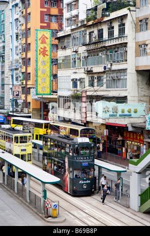 A tram stop in Hong Kong - Stock Photo