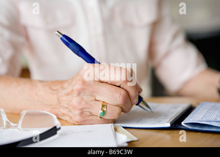 Woman writing on a diary - Stock Photo