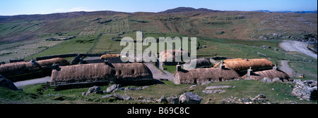 Garenin Black House village of historic thatched cottages Carloway Isle of Lewis Outer Hebrides, Western Isles, - Stock Photo