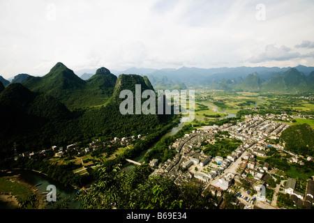 High angle view of a town, Xingping, Yangshuo, Guangxi Province, China - Stock Photo