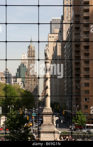 Statue of Christopher Columbus at Columbus Circle in New York City as viewed from the Time Warner Centre - Stock Photo