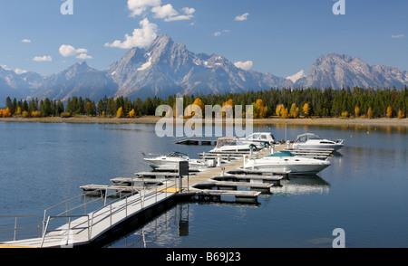 Colter Bay Marina, Jackson Lake, Grand Teton National Park, Wyoming - Stock Photo