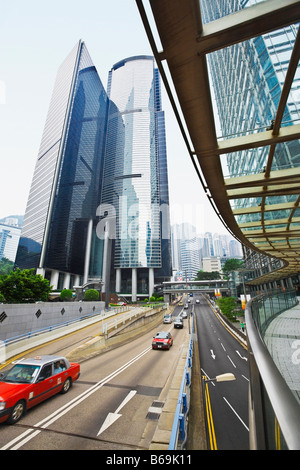 Traffic on the road, Des Voeux Road, Hong Kong Island, China - Stock Photo