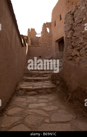 Steps Leading up to the Kasbah at Ait Benhaddou, Morocco. - Stock Photo