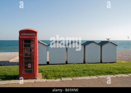 Beach Huts Budleigh Salterton Devon - Stock Photo