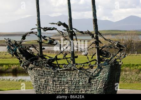 National Famine Memorial Westport, Croagh Patrick, Co Mayo, Ireland, Sculpture by John Belan - Stock Photo