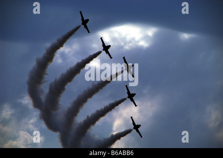 Hungary, Budapest, The Breitling Jet Team makes a pass over the Danube on St.Stephen's Day, flying the Aero L 39 - Stock Photo