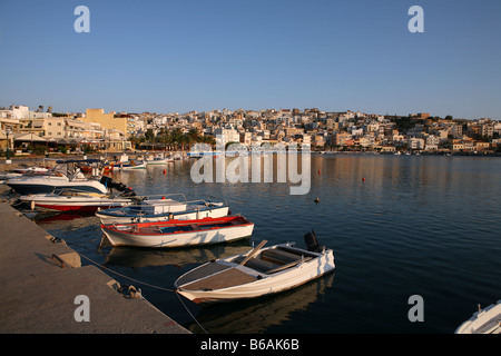 A view of Sitia harbour with its small fishing boats early on an summer morning in 2007 - Stock Photo