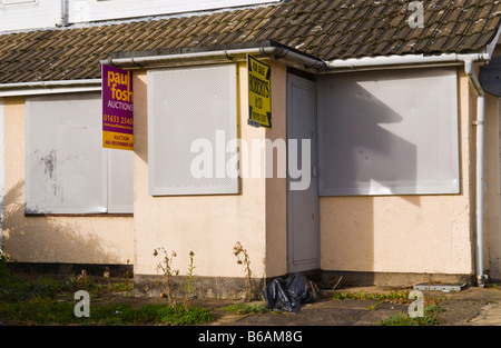 Repossessed semi detached house for sale by auction in South Wales UK - Stock Photo
