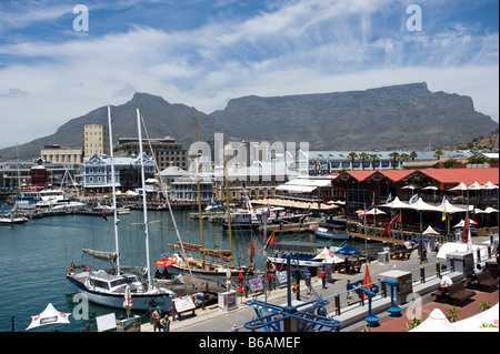 Victoria Alfred Waterfront Cape Town South Africa Table Mountain in the background - Stock Photo