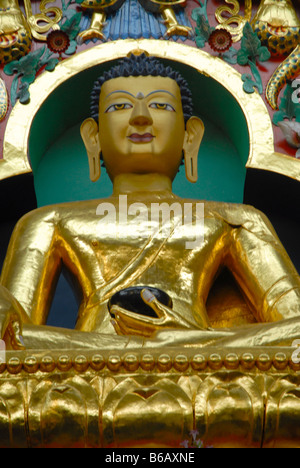 BUDDHIST GOLDEN TEMPLE IN BYLAKUPPE COORG KARNATAKA - Stock Photo