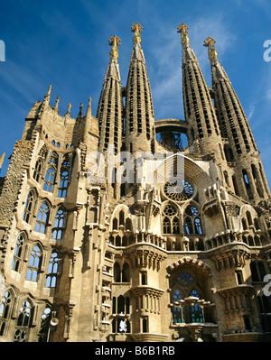 Towers of the Sagrada Familia temple, Gaudi, Barcelona, Catalonia, Spain - Stock Photo