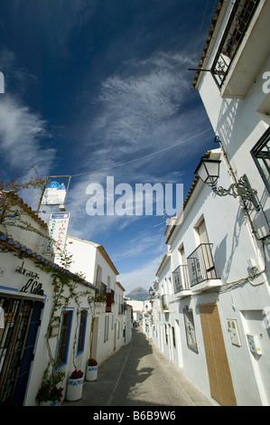 Street in Altea old town, Costa Blanca, Spain - Stock Photo