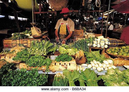 Mauritius, Port-Louis, market, vegetables stall - Stock Photo