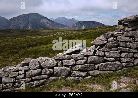 The Mourne Wall, Slieve Donard, Mourne Mountains, County Down, Northern Ireland - Stock Photo