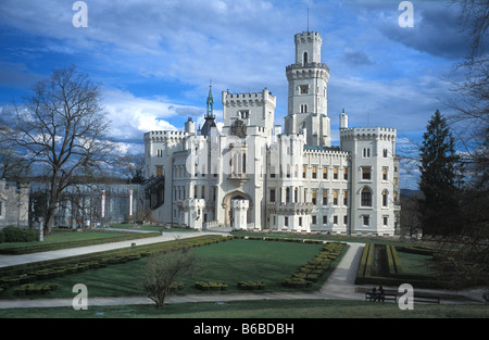 hluboka nad vltavou castle or chateaux in south bohemia in the czech republic - Stock Photo