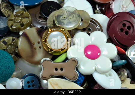 Closeup of a collection of multicolored clothing buttons - Stock Photo