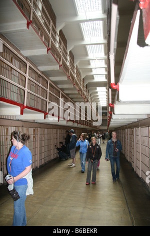 Corridor of jail cells in Alcatraz Penitentiary, San Francisco, California. - Stock Photo