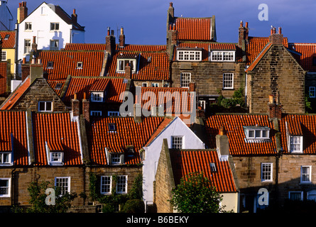 Rooftop panorama in Robin Hood's Bay, North Yorkshire - Stock Photo