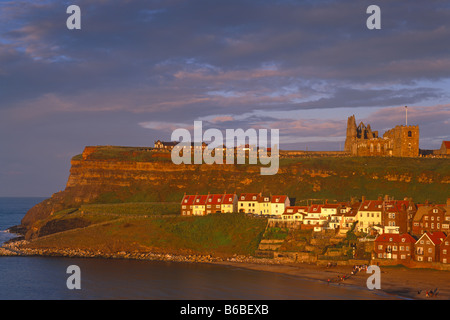 Evening light on St Mary's Church and East Cliff, Whitby, North Yorkshire - Stock Photo