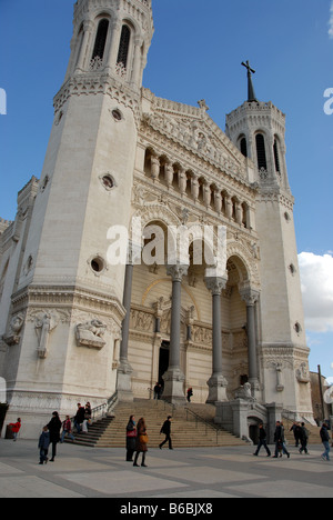 The Basilique Notre Dame de Fourviere on Fourviere Hill overlooking the city of Lyon in France - Stock Photo