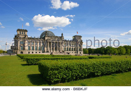 Formal garden in front of building - Stock Photo
