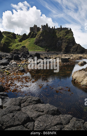 Dunluce Castle on the North Antrim coast, Northern Ireland - Stock Photo