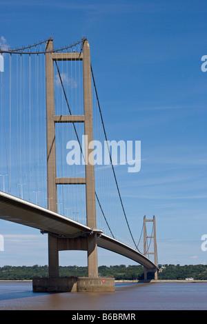 Humber Bridge the fourth largest single span suspension bridge in the world near Kingston upon Hull East Riding - Stock Photo