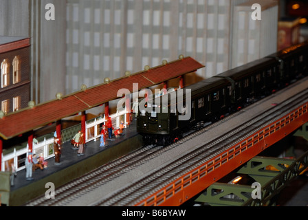 Christmas model railroad exhibit at the New York City Transit Museum in Grand Central Terminal in New York - Stock Photo