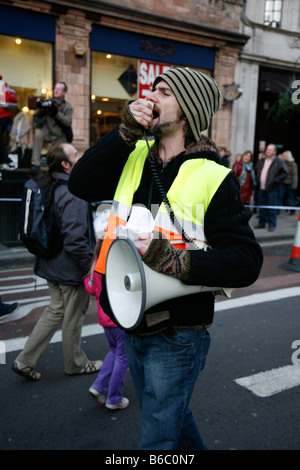 Demonstrator at the Campaign Against Climate Change march in London. - Stock Photo