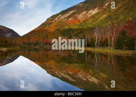 Autumnal reflections in Crawford Notch State Park in New Hampshire, USA - Stock Photo