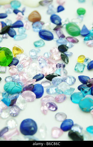precious jewel stones in an outlay - Stock Photo
