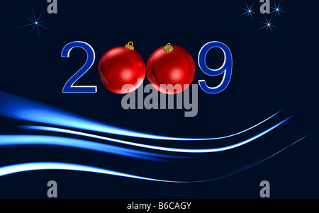 happy newyear red greeting card on blue background - Stock Photo