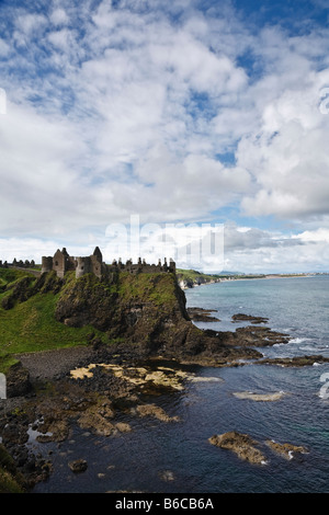 Dunluce Castle on the rugged North Antrim coast, Northern Ireland - Stock Photo