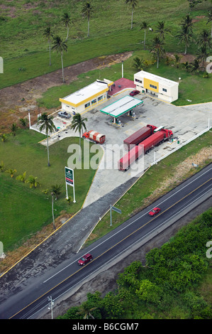 aerial view above PEMEX petrol gas filling station state of Tamaulipas Mexico - Stock Photo