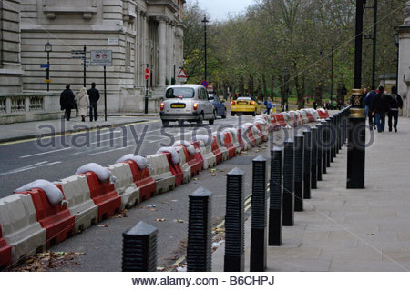 SECURITY fence Central London England near Houses of Parliament and Big Ben 2008 - Stock Photo