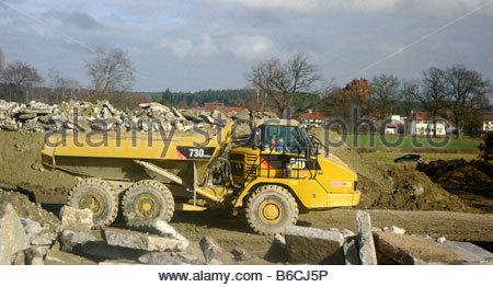CONSTRUCTION machinery vehicle Germany German Deutch Deutchland yellow - Stock Photo
