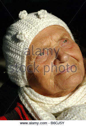 Old polish woman in Germany - Stock Photo