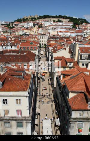 Buildings in city, Castelo Sao Jorge, Rua De Santa Justa, Baixa, Lisbon, Portugal - Stock Photo