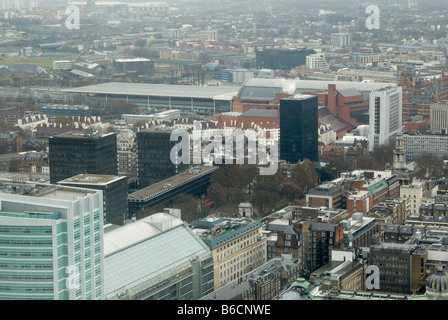 Oblique aerial view of Euston Road and King's Cross area, London, England - Stock Photo