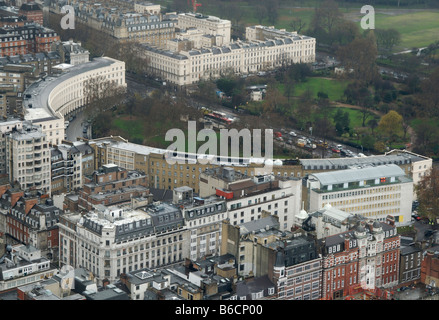 Aerial view of the Regency buildings of Park Crescent (1812-22) and Park Square Gardens, overlooking Regent's Park, - Stock Photo