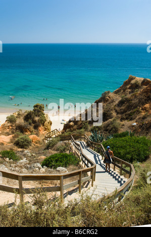 Staircase on beach, Praia Da Rocha, Algarve, Portugal - Stock Photo