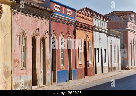 Buildings along street, Silves, Algarve, Portugal - Stock Photo