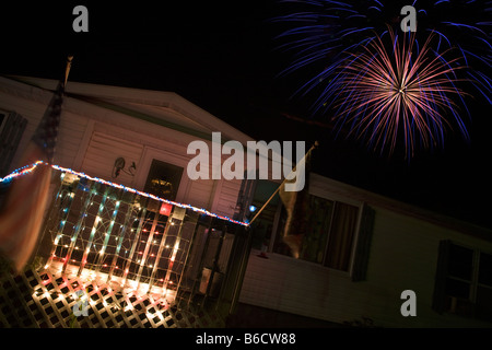 FIREWORKS OVER TRAILER HOME FOURTH JULY INDEPENDENCE DAY CELEBRATION FIREWORKS CORSICA VILLAGE PENNSYLVANIA USA - Stock Photo