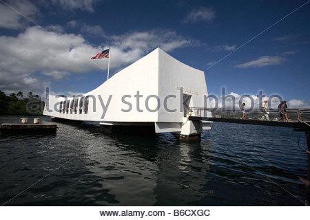 Uss Arizona Memorial In Pearl Harbor - Stock Photo