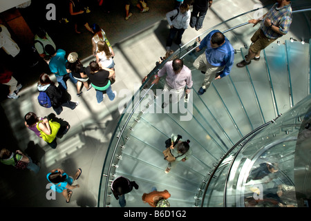 Entrance to the famous subterranean Apple Store on Fifth Avenue in Manhattan New York City - Stock Photo
