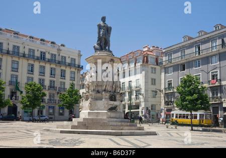 Praça De Luis De Camoes Square, the Chiado district, Lisbon, Portugal with the statue to Camões - Stock Photo